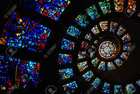 circular stained glass of the thanksgiving chapel dallas stock