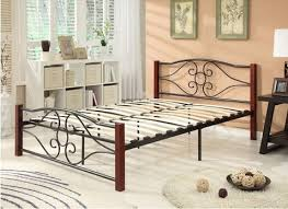 Metal Bed Frame With Wooden Slats Size Shape Bed Frame Metal Wood With Black Cherry