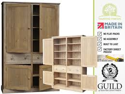 solid pine or oak 4 door larder pantry shelving kitchen cabinet