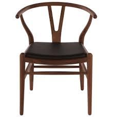 wishbone chair walnut with black leather seat homage