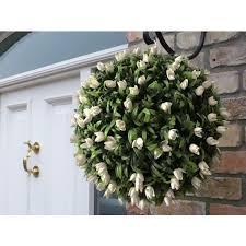 flower balls best artificial 40cm ivory white tulip flower lush leaf