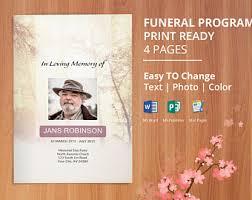 printable funeral program template memorial obituary