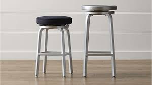 Rolling Bar Stool Spin Swivel Backless Bar Stools And Cushion Crate And Barrel