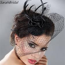 mini hat wedding bridal birdcage veil with black black feather