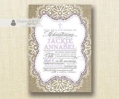 Shabby Chic Purple by Lilac U0026 Burlap Baptism Invitation Boy Twins Christening