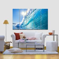 amazon com wieco art sea waves large 5 peice modern framed