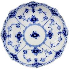 royal copenhagen blue fluted half lace footed cake dish from