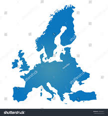 blank blue similar europe map isolated stock vector 420953011