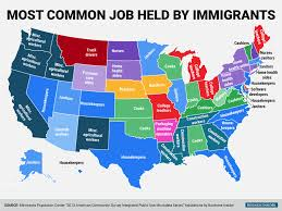 States In Usa Map by Most Common Job Held By Legal Immigrants To The Usa Map By State