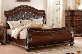Upholstered Sleigh Bed with Homelegance Chaumont Upholstered Sleigh Bed Burnished Brown