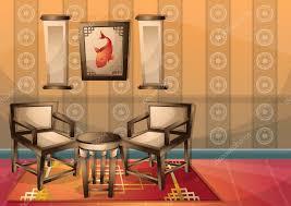 chambre chinoise dessin animé vector illustration intérieure chambre chinoise avec