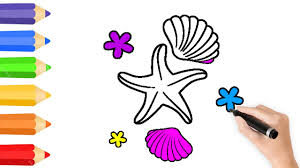 starfish and shells coloring pages u0026 drawing for children how to