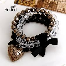 bracelet with heart pendant images Hesiod new arrival charm bracelets mutilayer black white beads jpg