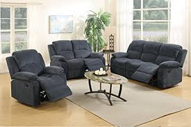 blue reclining sofa and loveseat amazon com 3pcs modern blue grey dacron fiber reclining sofa