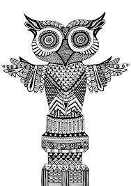 owl totem pole drawing