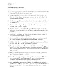 1 d kinematics practice packet pdf acceleration speed