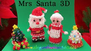 rainbow loom mrs santa 3d charm santa claus