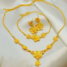 gold flower necklace designs images Buy 24k gold plated flower design jewelry set 3 pieces jewelry jpg