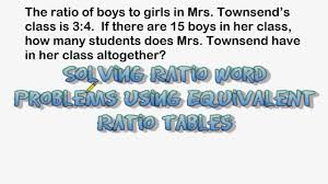 using equivalent ratio tables to solve word problems youtube