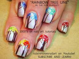nail art tutorial diy easy rainbow tree nail design youtube