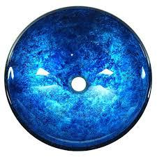 blue glass vessel sink crackle foil leaf glass vessel bathroom sink in stratosphere blue