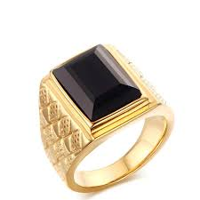 aliexpress buy mens rings black precious stones real titanium steel gold color ring men black wide men s ring