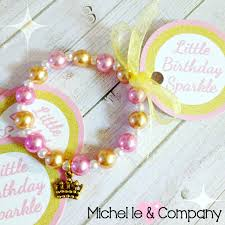 party favor bracelets 8 pink gold crown charm bracelet birthday party favor 6