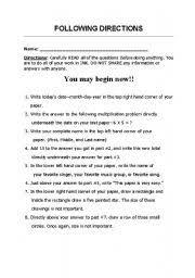 following written directions worksheets austsecure com