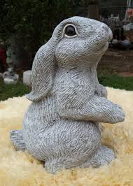 vintage cement rabbit garden statue 13 height 22 lbs textured