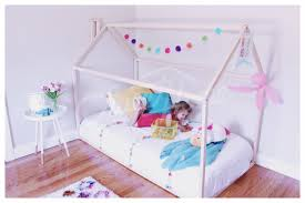 violet pastel girls nursery room toddler bed house bed tent bed