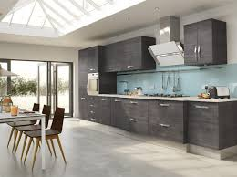two toned gray cabinets single wall oven pastel ocean blue