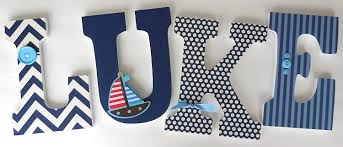 Decorating Wooden Letters For Nursery Sailboat Wood Letters Custom Nautical Nursery Name