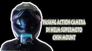 yamaha motocross helmet cara pasang action camera di depan chin mount helm supermoto