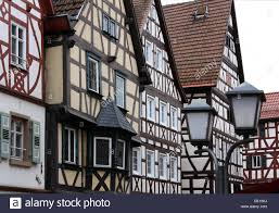 Mosbach Baden Half Timbered Houses On The Main Road Mosbach Deutsche Stock