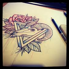 red rose triangle and goat head pencil sketch real photo