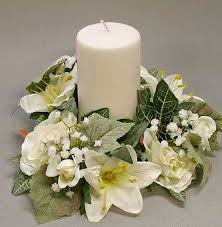 flower candle rings artificial silk white and candle ring wedding