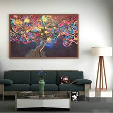 5 types cosmos system psychedelic tree art silk cloth poster home