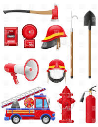 set icons of firefighting equipment vector clipart image 19757