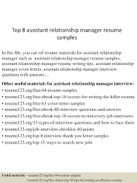Resume Sample Naukri by Top8assistantrelationshipmanagerresumesamples 150520140515 Lva1 App6891 Thumbnail 4 Jpg Cb U003d1432130758