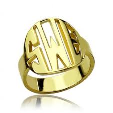 Monogram Ring Gold Personalized Monogrammed Rings Opersonalized Com