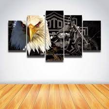 2017 5 panel canvas prints art eagle moto painting modern picture