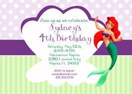 simple and sweet little mermaid princess ariel birthday invitation