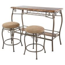 marble top bar table 3pc faux marble top bar table 2 stools brown home source target