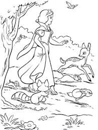 Snow White And Woodland Animals Coloring Page Free Printable Woodland Animals Coloring Pages