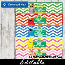 sesame street editable bottle labels u2013 instant download sesame