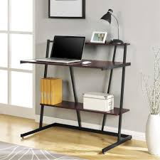 gray polished iron computer desk with two tier sheet metal shelves