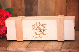 engraved anniversary gifts custom wedding engagement wine box ceremony keepsake rustic