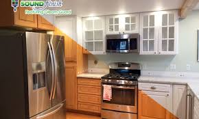 painting your kitchen cabinets before and after sound finish cabinet painting refinishing seattle
