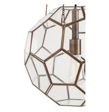 beck brass glass faceted geometric modern vintage pendant light