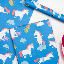kids wrapping paper unicorn wrapping paper 5 sheets dotcomgiftshop